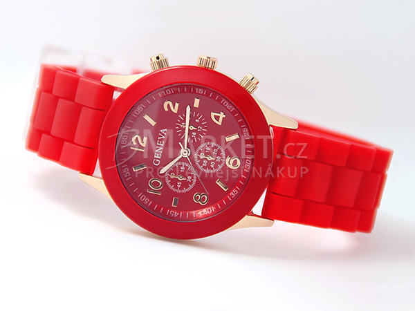 Silikonové hodinky Geneva červené