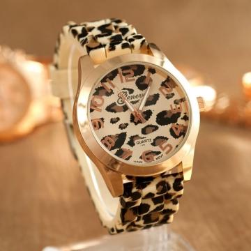 Silikonové hodinky Geneva Leopard zlaté
