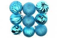 Tvarované vánoční koule FLORA (6cm) 9ks - Modré