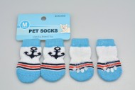 Ponožky pro psy s protiskluzovou podrážkou 3x7,5cm (M) - Modro bílé s kotvou