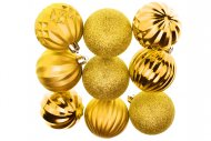 Tvarované vánoční koule FLORA (6cm) 9ks - Zlaté