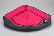 Trojuhelníkový pelíšek pro psy s vyndávacím polštářem - Růžový (62x52x16cm)