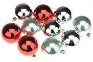 Vícebarevné vánoční koule na stromeček DECORIS (6cm) 10ks - Červené