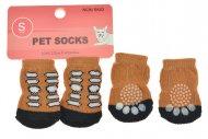 Ponožky pro psy s protiskluzovou podrážkou 2,5x6cm (S) - Hnědé s flíčky