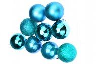 Vánoční koule na stromeček FLORA (6cm) 9ks - Modré