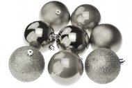 Vánoční koule na stromeček FLORA (8cm) 8ks - Stříbrné