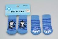 Ponožky pro psy s protiskluzovou podrážkou 3x7,5cm (M) - Modré s pruhy a obrázkem