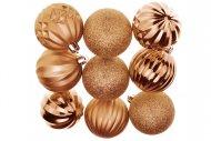 Tvarované vánoční koule FLORA (6cm) 9ks - Bronzové