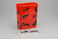 Box na krmivo pro zvířata s víčkem a silikonovým těsněním 4l - Červený (21x18,5x10,5cm)