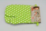 Teflonové kuchyňské rukavice s magnetem - Set 2ks (26x18cm) - Zelené s puntíky