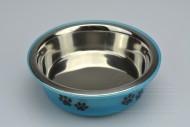 Nerezová miska na krmivo s plastovým dnem - Modrá (14,5x5cm)