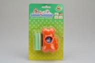 Plastové pouzdro na sáčky na psí hovínka včetně dvou ruliček sáčků - Oranžová kost s karabinou