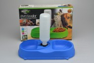 Dvojitá plastová miska na krmivo s dávkovačem vody FINE PET - Modrá (34x18x6cm)