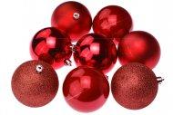 Vánoční koule na stromeček FLORA (8cm) 8ks - Červené