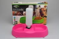 Dvojitá plastová miska na krmivo s dávkovačem vody FINE PET - Růžová (34x18x6cm)