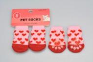 Ponožky pro psy s protiskluzovou podrážkou 2,5x6cm (S) - Se srdíčky
