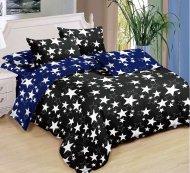 Sedmidílná sada hebkého povlečení 140x200+70x90 - Black & Blue Stars