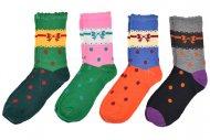 Dětské ponožky VIRGINA VRTC 29018 - 4 páry, s motivem mašle, mix barev, velikost 35-37