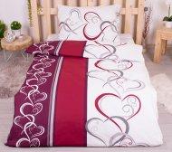 Bavlněné povlečení 140x200+70x90 - Červeno-šedé ornamenty
