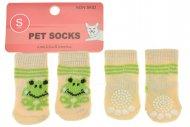Ponožky pro psy s protiskluzovou podrážkou 2,5x6cm (S) - S žábou