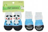 Ponožky pro psy s protiskluzovou podrážkou 3.5x9cm (L) - Bílo modré