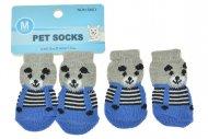 Ponožky pro psy s protiskluzovou podrážkou 3x7.5cm (M) - Modro šedé