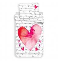 Bavlněné povlečení 140x200+70x90 - Srdce z lásky