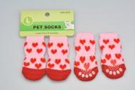 Ponožky pro psy s protiskluzovou podrážkou 3,5x9cm (L) - Se srdíčky