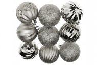 Tvarované vánoční koule FLORA (6cm) 9ks - Stříbrné