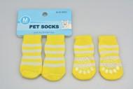 Ponožky pro psy s protiskluzovou podrážkou 3x7,5cm (M) - Žluté s pruhy