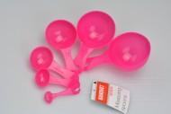 Plastové odměrky set 6ks BANQUET 1-125ml - Růžové (13cm)