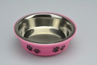 Nerezová miska na krmivo s plastovým dnem - Růžová (14,5x5cm)