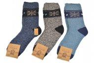 ALPACA gyapjú zokni hópelyhek - 3 pár, vegyes színek, mérete 44-47
