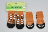 Ponožky pro psy s protiskluzovou podrážkou 3,5x9cm (L) -Hnědé s flíčky