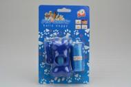 Plastové pouzdro na sáčky na psí hovínka včetně dvou ruliček sáčků - Modrá kost s karabinou