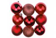 Vánoční koule na stromeček FLORA (6cm) 9ks - Červené