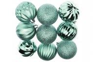 Tvarované vánoční koule FLORA (6cm) 9ks - Stříbrno-modré