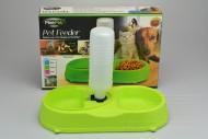 Dvojitá plastová miska na krmivo s dávkovačem vody FINE PET - Zelená (34x18x6cm)
