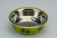 Nerezová miska na krmivo s plastovým dnem - Zelená (14,5x5cm)