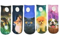 Dětské ponožky s celopotiskem zvířátek Aura.via GP:107 - 5 párů, velikost 28-31