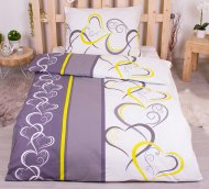 Bavlněné povlečení 140x200+70x90 - Žluto-šedé ornamenty