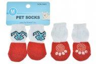 Ponožky pro psy s protiskluzovou podrážkou 3x7.5cm (M) - Červeno bílé