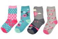 Dětské ponožky LOOKeN DAMEN ZTY-7960 - 4 páry, mix barev, velikost 32-35