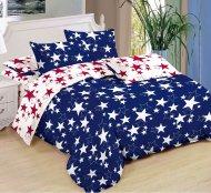 Sedmidílná sada hebkého povlečení 140x200+70x90 - Blue & White Red Stars