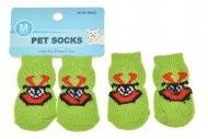 Ponožky pro psy s protiskluzovou podrážkou 3x7.5cm (M) - Zelené s obrázkem