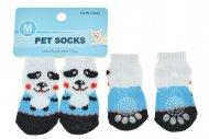 Ponožky pro psy s protiskluzovou podrážkou 3x7.5cm (M) - Bílo modré