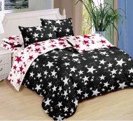 Sedmidílná sada hebkého povlečení 140x200+70x90 - Black & White Red Stars