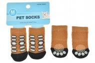 Ponožky pro psy s protiskluzovou podrážkou 3x7.5cm (M) - Hnědé s flíčky