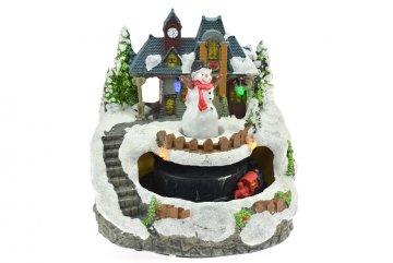 Vánoční scéna (13cm) - Sněhulák s vláčkem,…