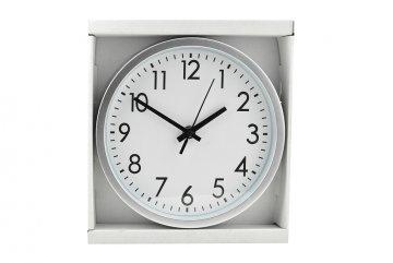 Kulaté nástěnné hodiny, 20cm - Stříbrné